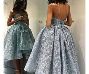 grey prom dresses, custom prom dresses, and lace prom dresses image