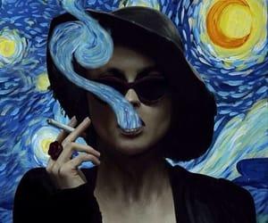 art, girl, and smoke image