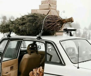car, snow, and christmas tree image