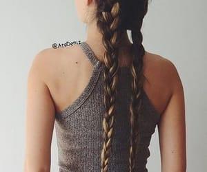 braids, hair, and crop top image