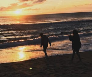sea, beach, and couple image