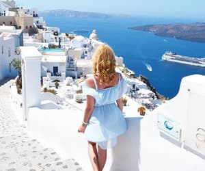 girl, santorini, and Greece image
