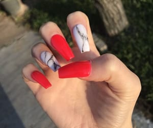 nails, red, and marble image