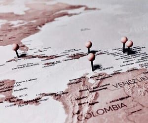 travel, rose gold, and map image