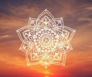 wallpaper, mandala, and sunset image