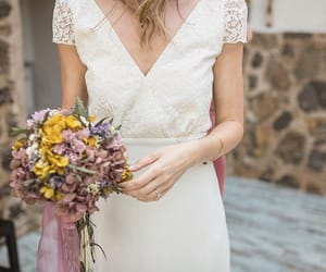 bouquet, romantic, and wedding gown image