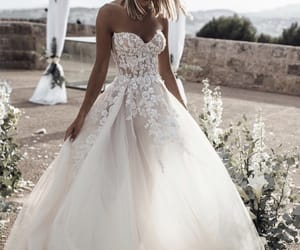 bridal gown, bride, and wedding image