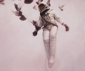 bird, astronaut, and art image
