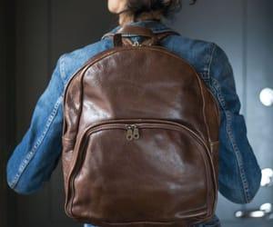 shoulder strap bag, vintage backpack, and brown backpack image