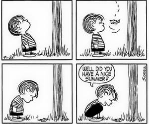 black and white, cartoon, and Linus image