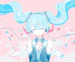 art, blue hair, and closed eyes image