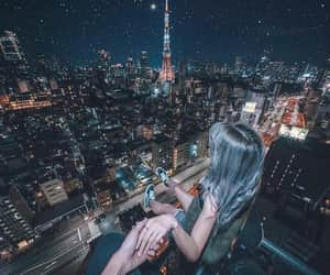 blue, city, and couple image