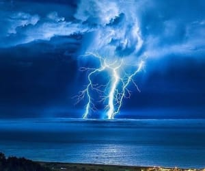 lightning, sky, and blue image