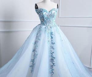 prom dress blue, ball gown prom dress, and prom dress long image