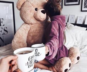 girl, teddy, and coffee image