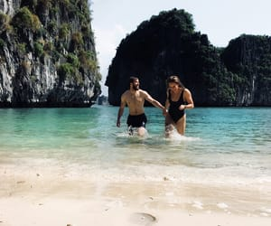 backpacking, boyfriend, and couple image