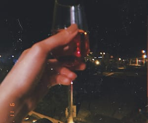 night, rose, and wine image