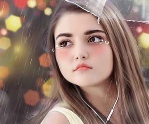 cry, girl, and rain image