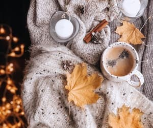 leaves, candle, and coffee image