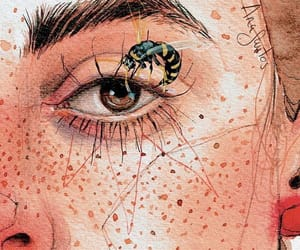 art, bee, and freckles image