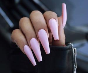 acrylic, pink, and pink nails image