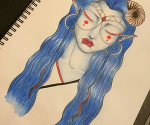 art, blue hair, and drawing image