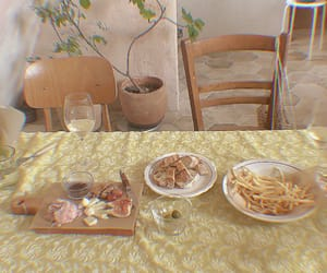dining table, food, and green image