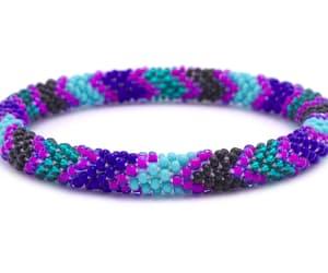 glass beaded, nepal roll on bracelet, and nepal bracelets image