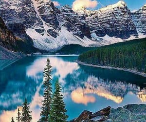 mountain, trees, and water image
