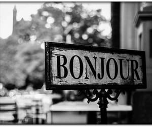 black and white and bonjour image