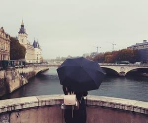 bridge, paris, and rain image