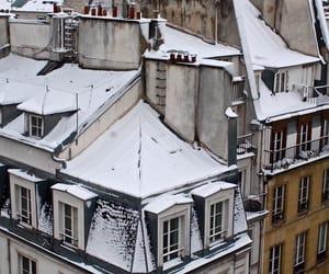 snow, city, and paris image