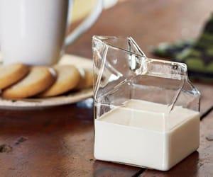 milk, glass, and food image