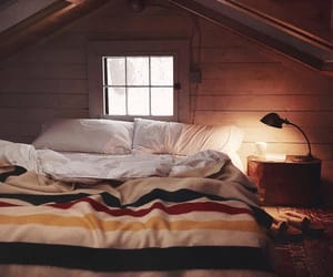bed, cozy, and decor image