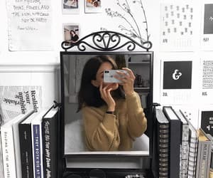 girl, mirror, and room image