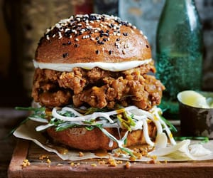 Fried chicken curry burger