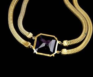 amethyst, large, and gold tone image