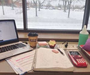 study, books, and snow image