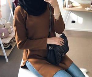 brown, demin, and hijab image