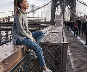 bridge, girl, and outfit image