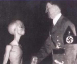 alien, hitler, and black and white image