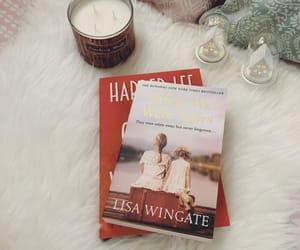 books, candles, and christmas image