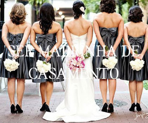 wedding, bride, and bridesmaid image