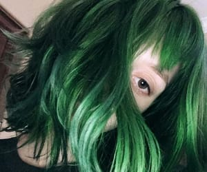 colored hair, green hair, and estilo image