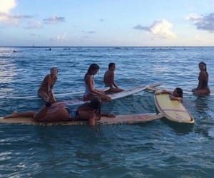 girls, sea, and surf image