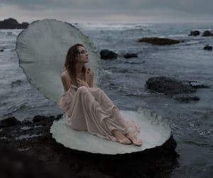 girl, dark, and ocean image