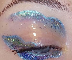 aesthetic, blue, and glitter image