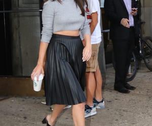 black skirt, selena gomez, and starbucks image