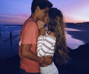 couple, sunset, and love image