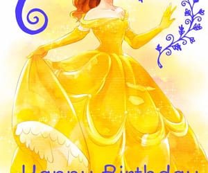 beauty and the beast, belle, and happy birthday image